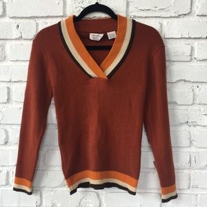 Vintage Full-Fashioned Rusty V-Neck Sweater